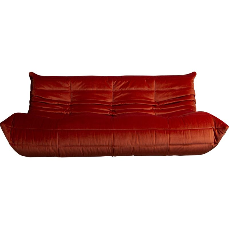 Vintage Togo 3-seater sofa in orange red velvet, Ligne Roset, 1970s