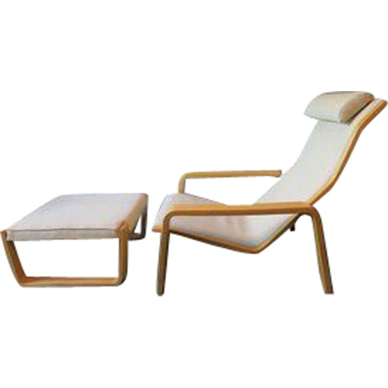 Vintage armchair with foot stool by Ilmari Lappalainen for Asko, 1963