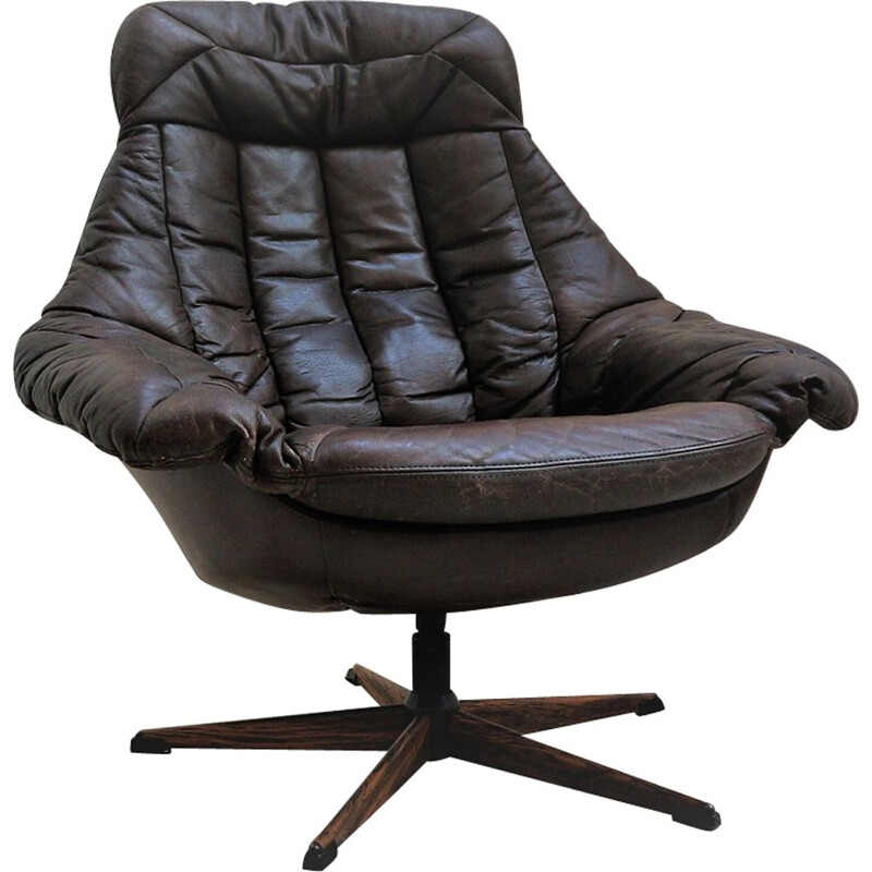 Black leather vintage shell chair by H.W. Klein, 1970s