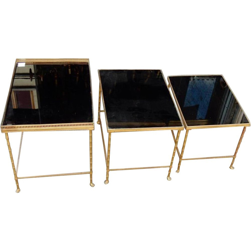 Set of 3 vintage brass and black opaline glass nesting tables by Maison Bagues, 1970s