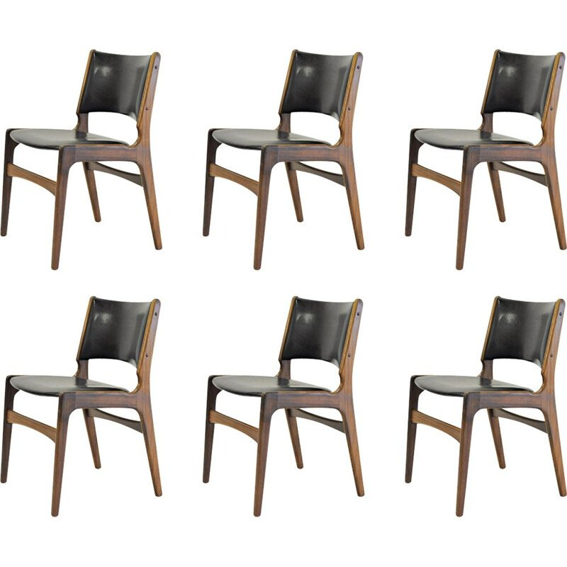Set of 6 vintage dining chairs Erik Buch by Oddense Maskinsnedkeri, 1960s