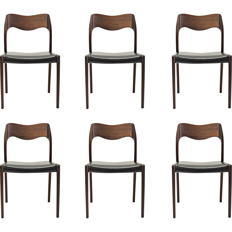Set of 6 vintage teak dining chairs by Niels Otto Møller, 1951