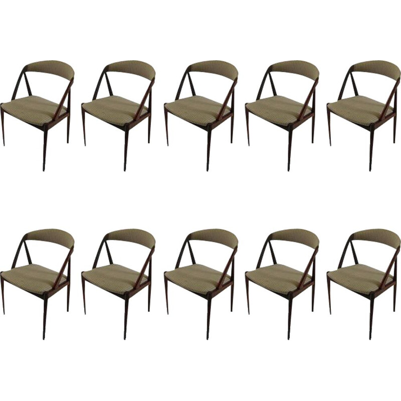Set of ten vintage dining chairs in teak by Kai Kristiansen, 1960s