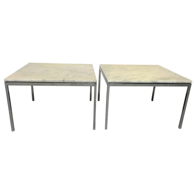 Set Of 2 Coffee Table In Marble And Chrome Florence Knoll 1960s