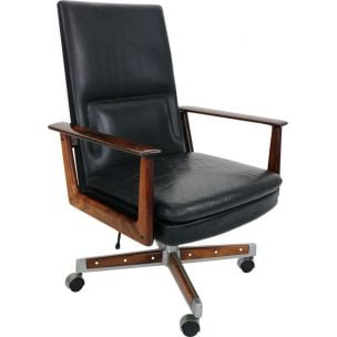 Vintage President rosewood and leather chair by Arne Vodder for Sibast, 1960s