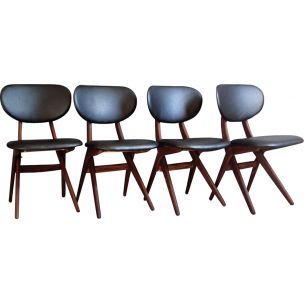 Set of 4 teak vintage chairs by Louis van Teeffelen, 1950s