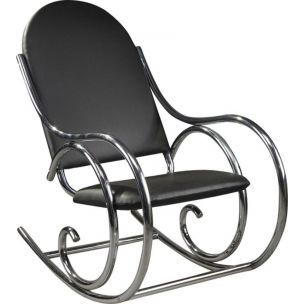 Metal vintage rocking chair Thonet style, 1950s