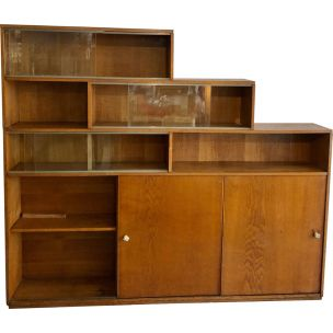 Vintage oak bookcase, 1950s