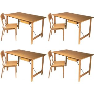 Set of 4 vintage Saint Catherines desks and chairs by Arne Jacobsen, 1965