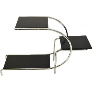 Vintage black side table in chrome by E.Guyot
