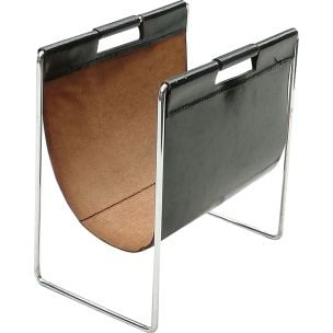 Vintage chrome and leather metal magazine holder by Brabantia, 1970s