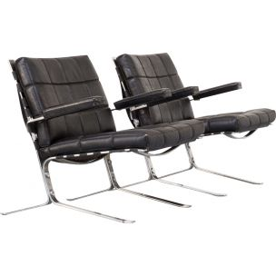 """Pair of 2 """"joker"""" armchairs by Oliver Mourgue, 1950s"""
