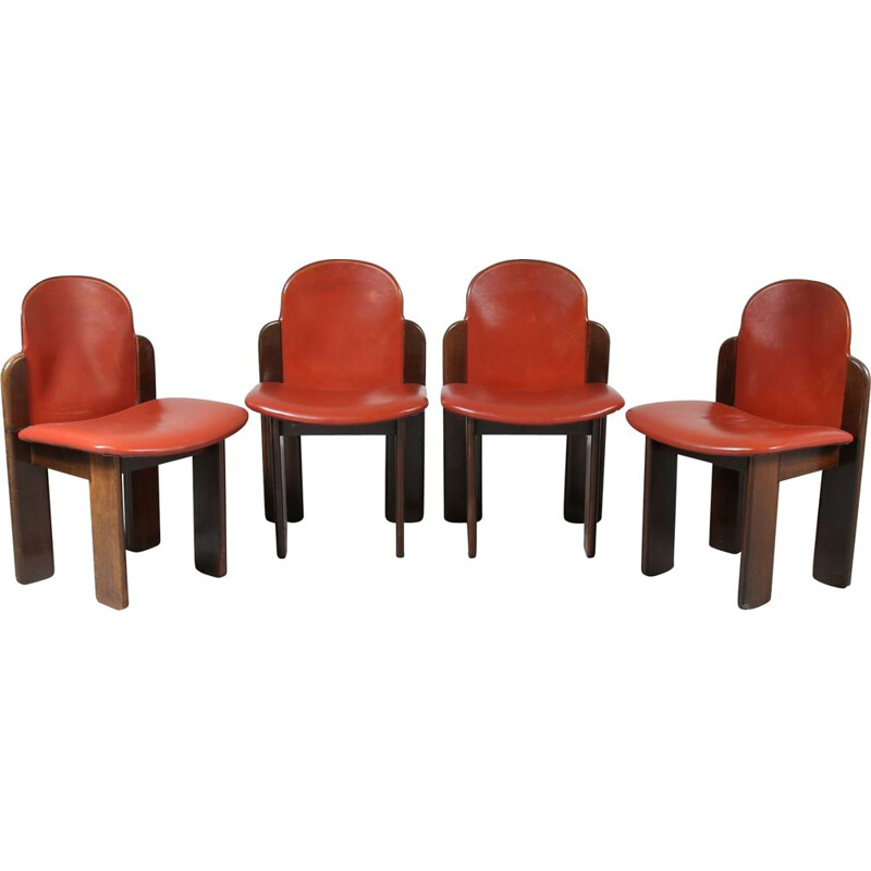 Set of 4 dining chairs in leather, Italy 1970
