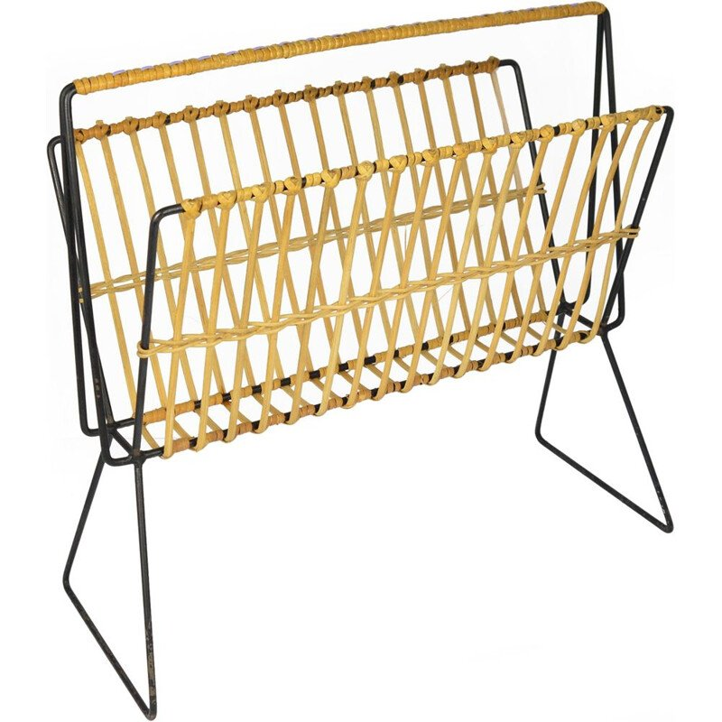 Vintage magazine rack in wicker Denmark 1960s