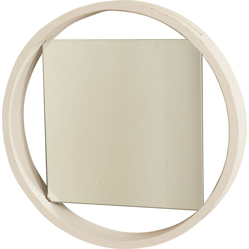 Vintage White Wall Mirror DZ84 by Benno Premsela for Spectrum, 1950s