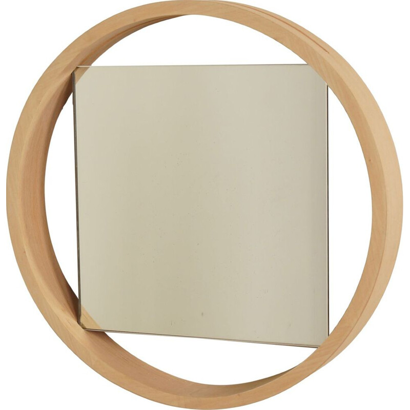 Vintage Birch Wall Mirror DZ84 by Benno Premsela for T Spectrum, 1950s