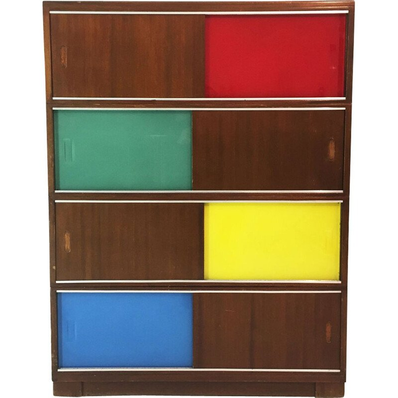 Vintage Cabinet with glass & wood panels, 1950