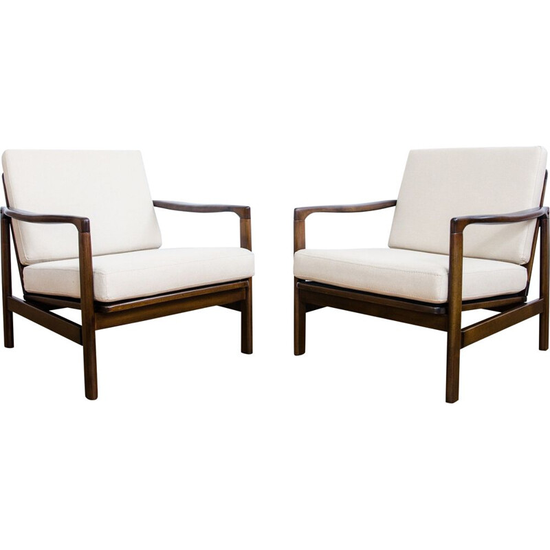 Vintage Pair of B-7752 armchairs by Zenon Bączyk, 1960s