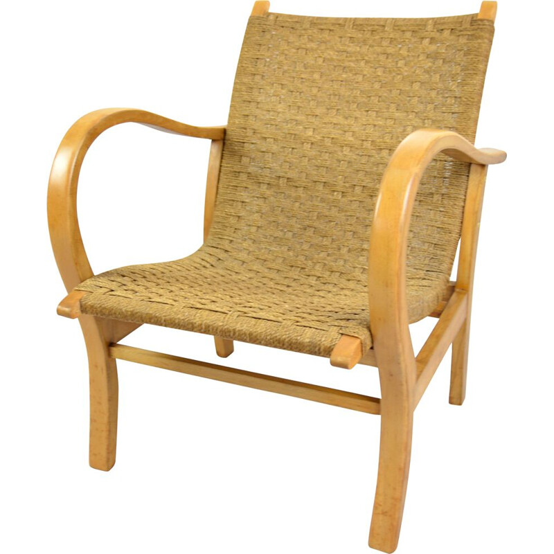 Vintage armchair with a string seat, Denmark 1960s
