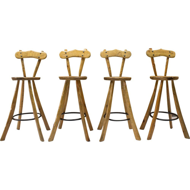 Vintage Set of 4 Bar Stools in Iron and Wood, 1960s