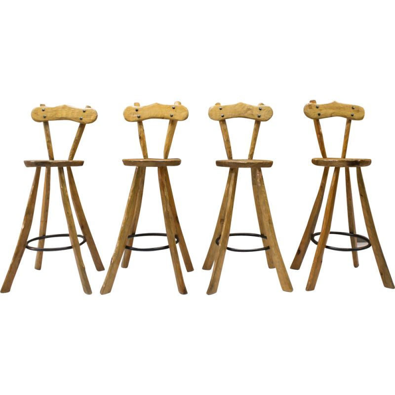 Terrific Vintage Set Of 4 Bar Stools In Iron And Wood 1960S Caraccident5 Cool Chair Designs And Ideas Caraccident5Info
