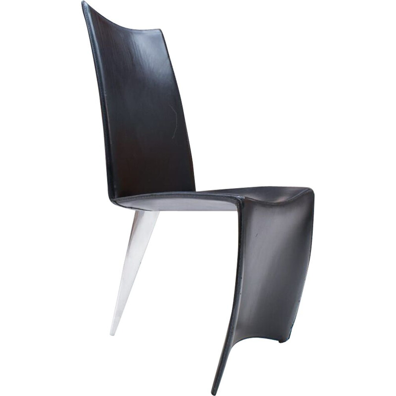 Vintage Dining Chair Ed Archer in Leather and Polished Aluminum by Philippe Starck for Driade, 1990s