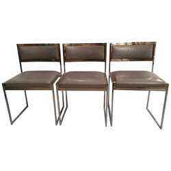 Set of 3 vintage dining chairs in steel, brass and leather, Willy RIZZO - 1970s