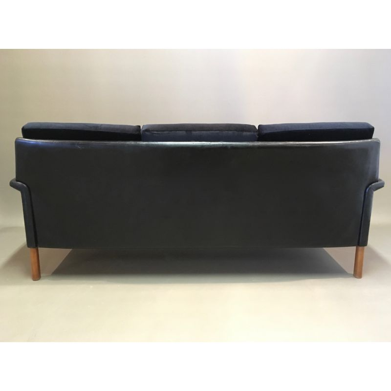 Incredible 3 Seater Vintage In Scandinavian Design Leather And Black Velvet Sofa 1950 Gmtry Best Dining Table And Chair Ideas Images Gmtryco