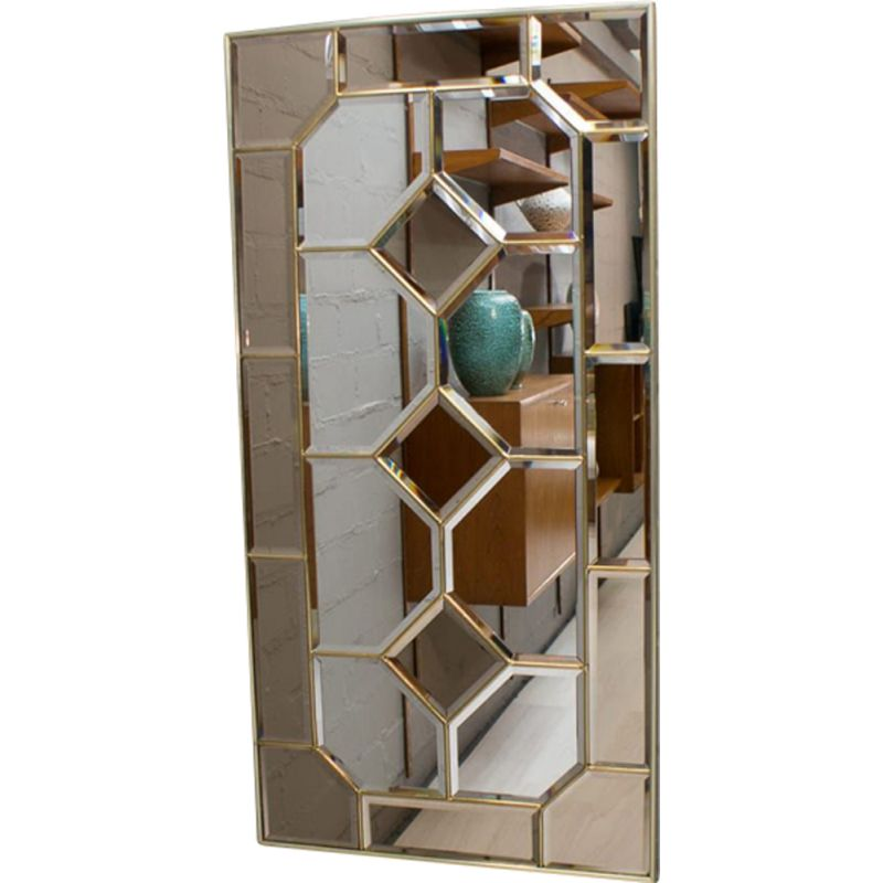 Vintage Wall Mirror with stained glass framed, 1970