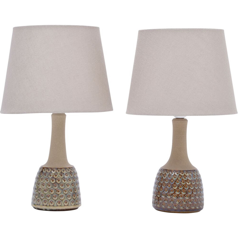 Vintage pair of stoneware lamps model 3014 by Einar Johansen for Soholm
