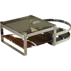 Vintage coffee table in glass and cow skin, Willy RIZZO - 1970s