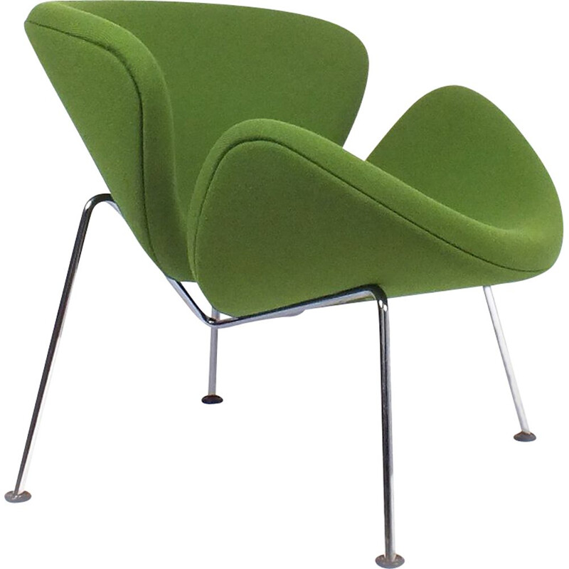 Vintage armchair Green Orange Slice F437 by Pierre Paulin 1960