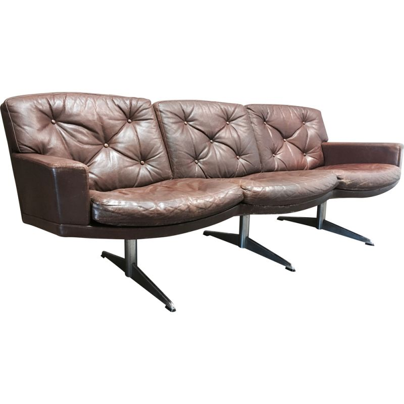 Vintage 3-seater leather and chrome design 1950