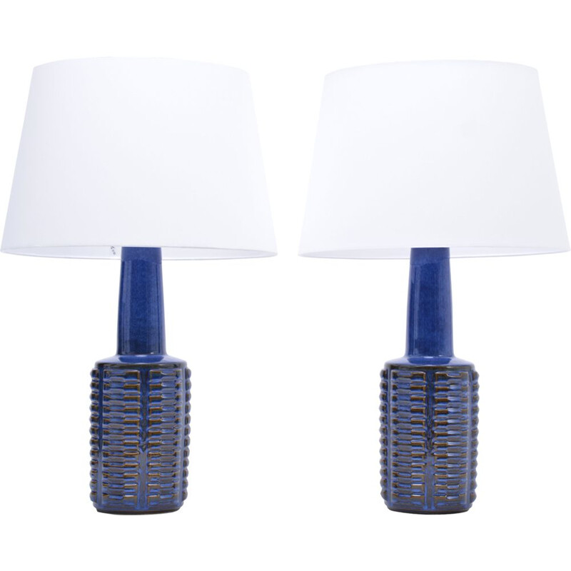 Vintage pair of tall blue stoneware table lamps by Einar Johansen 1960