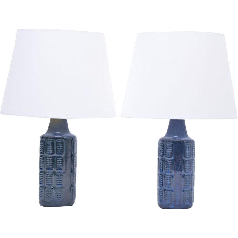 Pair of 2 blue vintage stoneware table lamps by Einar Johansen for Søholm, 1960s