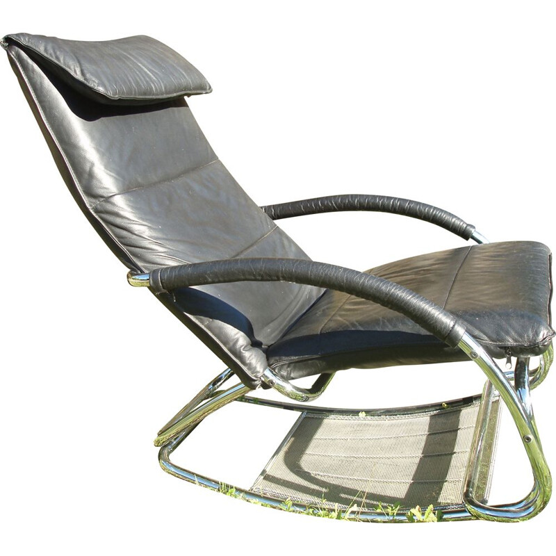 Vintage rocking-chair in black leather, 1980s