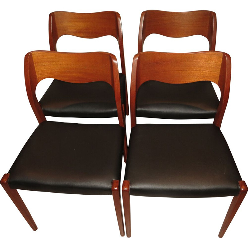 Set of 4 danish vintage chairs model N 71 by N.O.Moller, 1960s