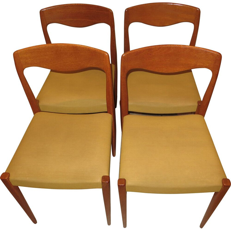 Set of 4 vintage danish teak chairs by N.O.Moller, 1960s