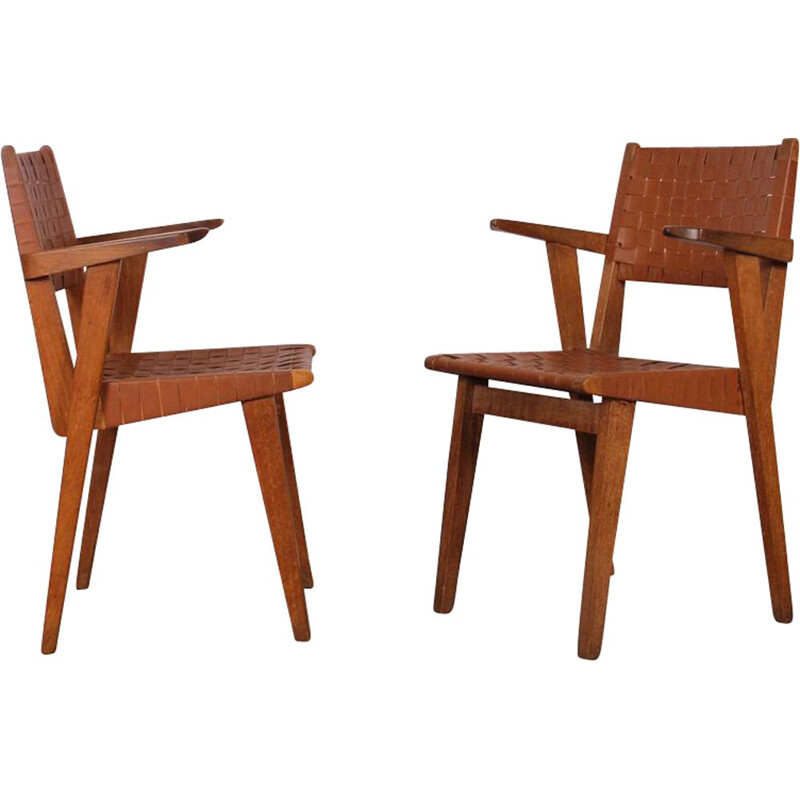 Pair of 2 vintage bridge armchairs by Jens Risom, 1940s