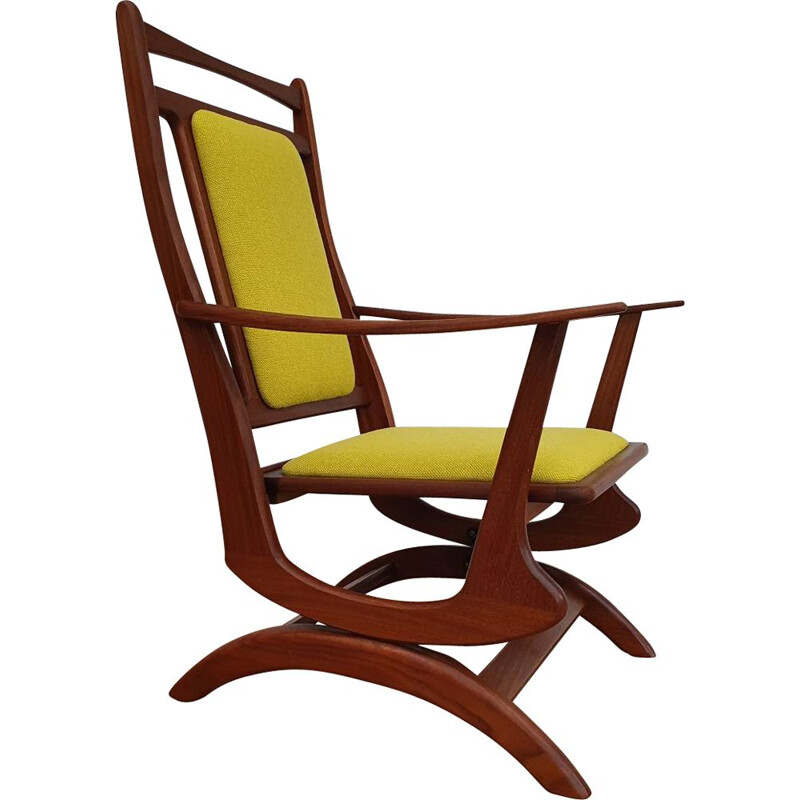 Vintage rocking-chair in solid teak wood, KVADRATl, 1960s