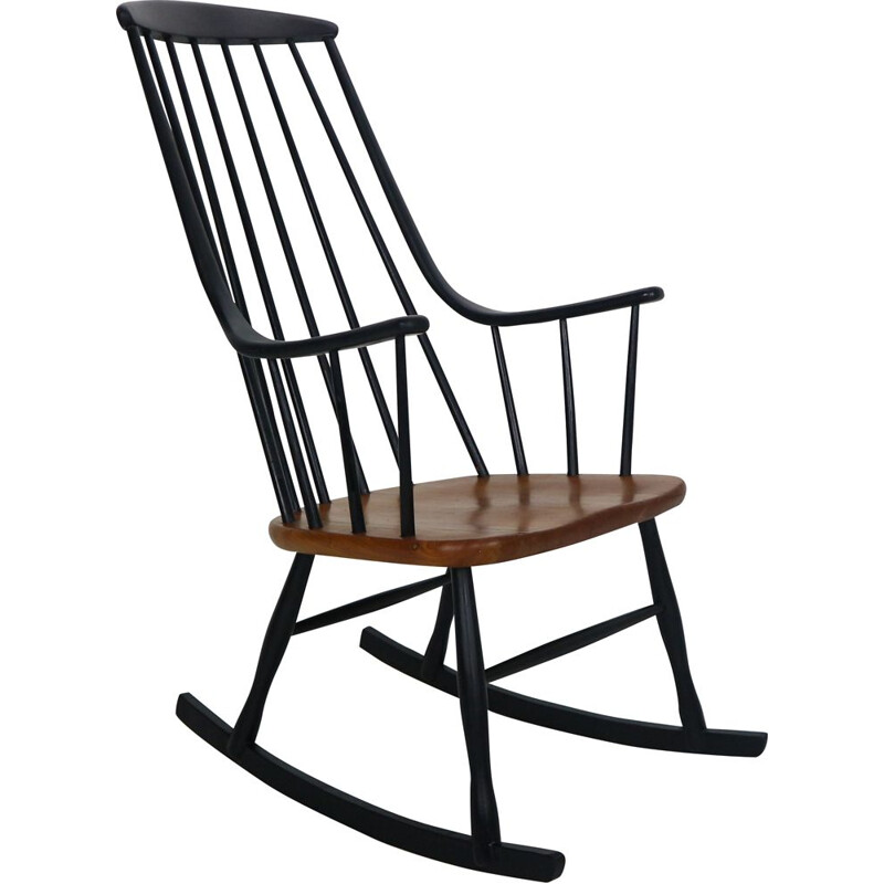 Vintage grandessa' wooden rocking chair by Lena Larsson for Nesto, 1960