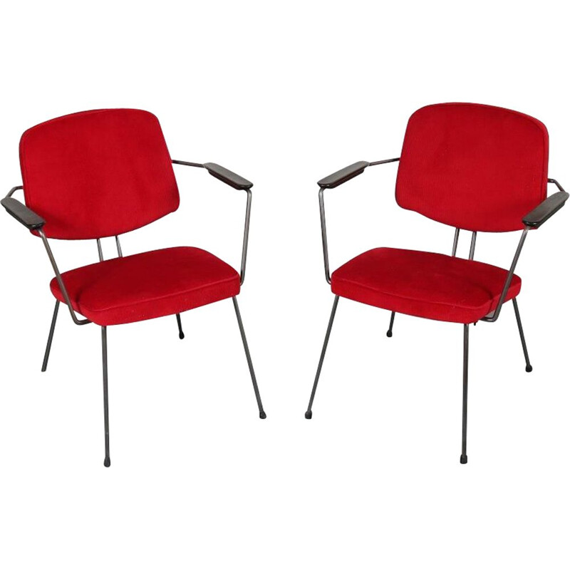 Vintage minimalist Dutch easy chairs by Rudolf Wolf, manufactured by Elsrijk 1950