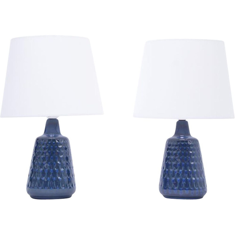 Vintage Pair of blue stoneware table lamps model 1019 by Einar Johansen for Søholm