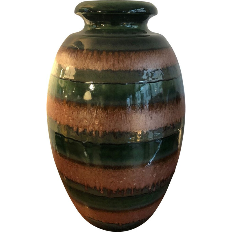 Large vintage vase in enamelled ceramic, Germany 1960s