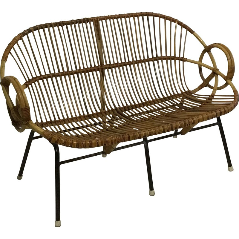 Vintage sofa in rattan by Dirk van Sliedregt for Rohe Noordwolde, 1960