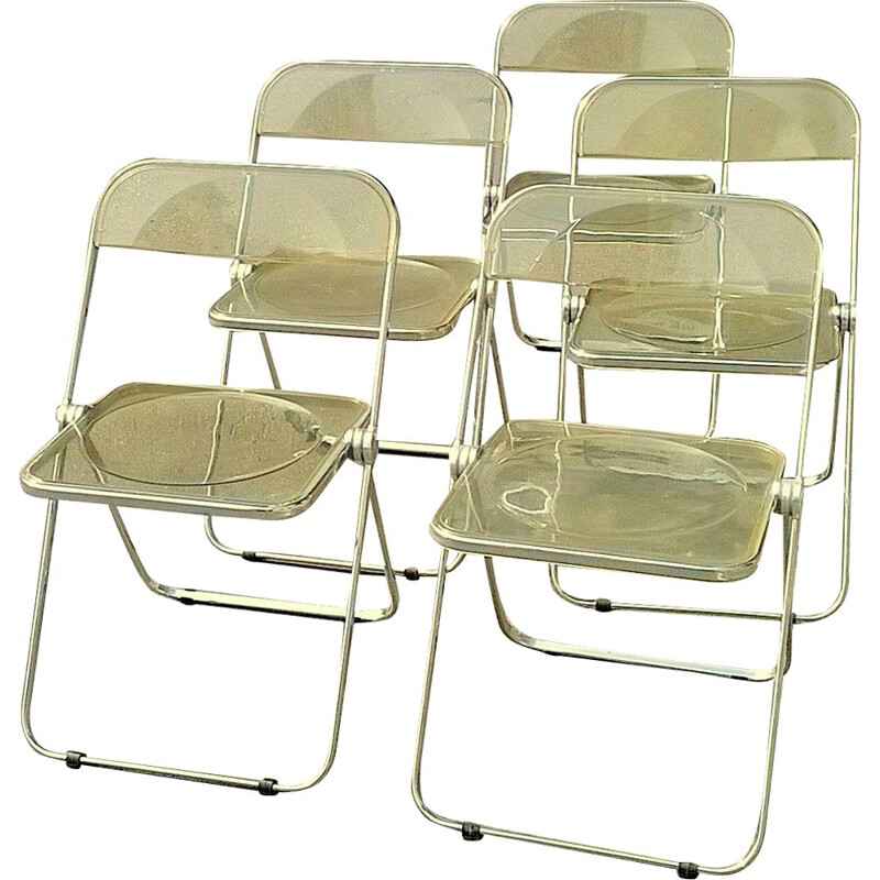 Set of 6 yellow Plia vintage chairs by Giancarlo Piretti for Castelli, 1960s