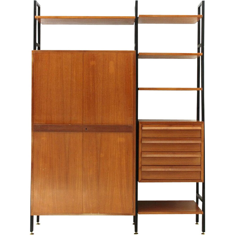 Metal and wood vintage wall unit, 1950s