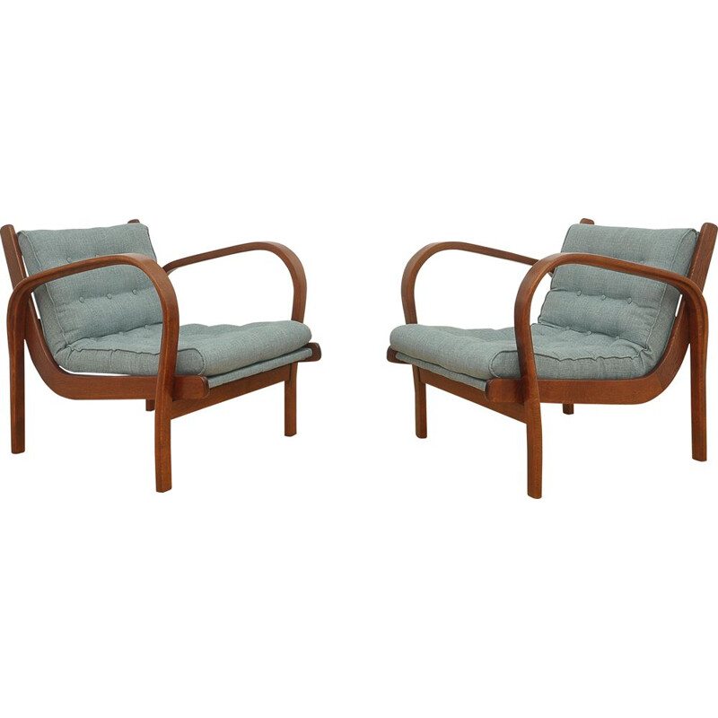 Vintage pair of armchairs by K. Kozelka & A. Kropacek for Interier Praha, 1940s