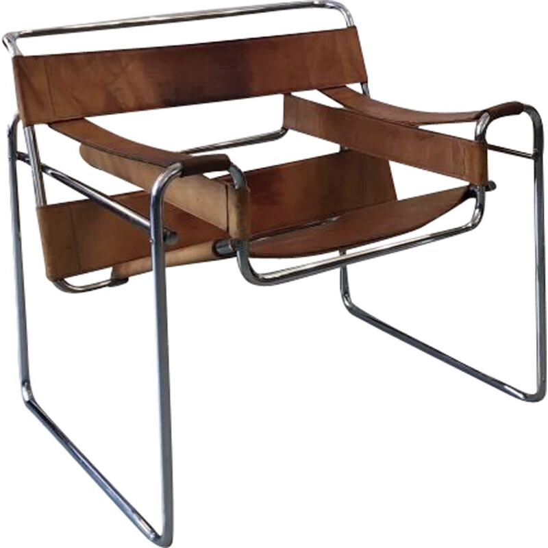 Vintage brown Wassily armchair by Marcel Breuer, 1970