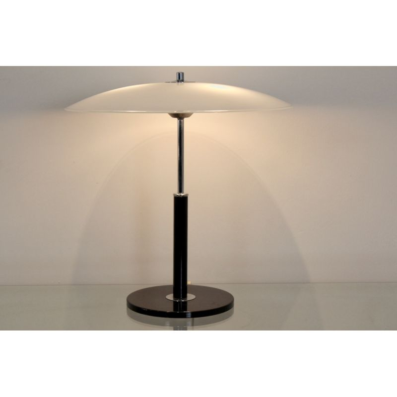 table lamp in Steel and Milky Glass
